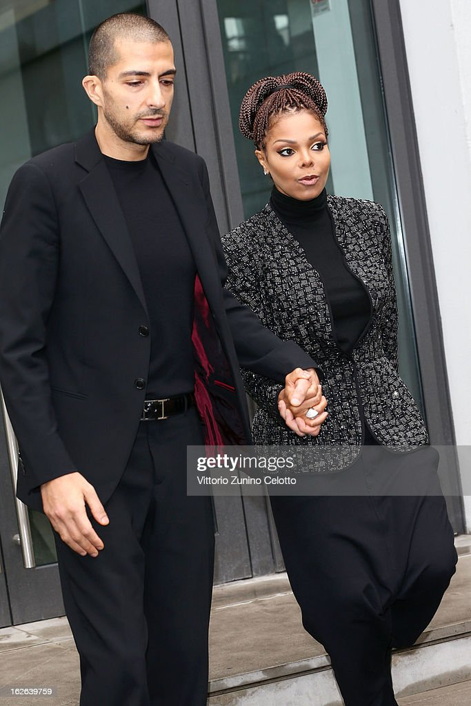 Wissam al Mana and <a gi-track='captionPersonalityLinkClicked' href=/galleries/search?phrase=Janet+Jackson&family=editorial&specificpeople=156414 ng-click='$event.stopPropagation()'>Janet Jackson</a> attend the Giorgio Armani fashion show as part of Milan Fashion Week Womenswear Fall/Winter 2013/14 on February 25, 2014 in Milan, Italy.