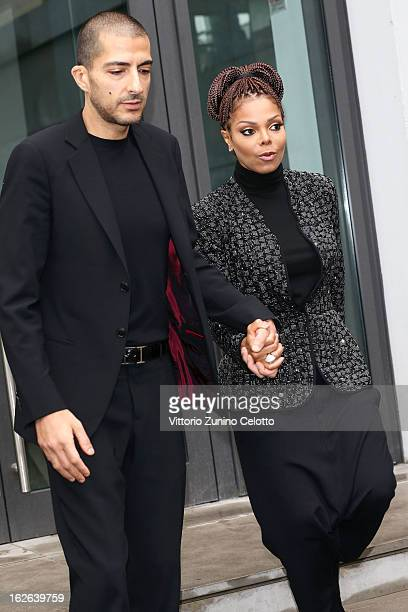 Wissam al Mana and Janet Jackson attend the Giorgio Armani fashion show as part of Milan Fashion Week Womenswear Fall/Winter 2013/14 on February 25...