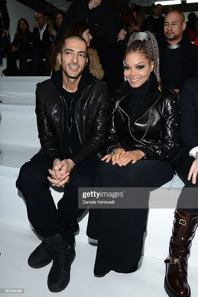 Wissam al Mana and Janet Jackson attend the Versace fashion show during Milan Fashion Week Womenswear Fall/Winter 2013/14 on February 22, 2013 in Milan, Italy.
