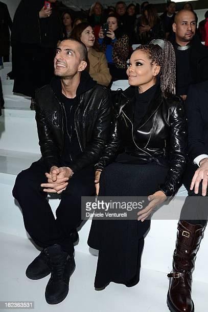 Wissam al Mana and Janet Jackson attend the Versace fashion show during Milan Fashion Week Womenswear Fall/Winter 2013/14 on February 22 2013 in...
