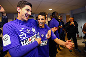 Wissam Ben Yedder and Yan Bodiger of Toulouse celebrate after the football french Ligue 1 match between Angers SCO and Toulouse FC on May 14 2016 in...