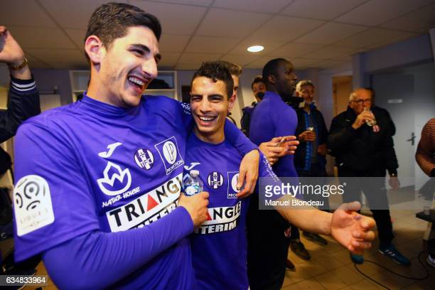 Wissam Ben Yedder and Yann Bodiger of Toulouse celebrate after the football french Ligue 1 match between Angers SCO and Toulouse FC on May 14 2016 in...