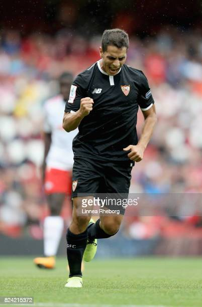 Wissam Ben Yedder of Sevilla celebrates after scoring 01 on penalty during the preseason friendly match between RB Leipzig and Sevilla FC during the...