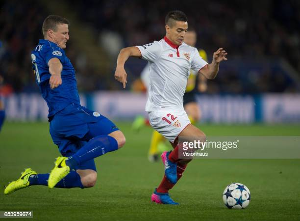 Wissam Ben Yedder of Sevilla FC and Robert Huth of Leicester City in action during the UEFA Champions League Round of 16 second leg match between...