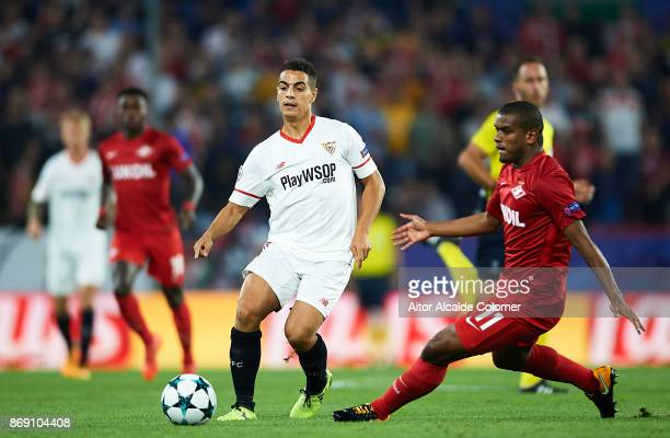 Wissam Ben Yedder of Sevilla FC being followed by Fernando Lucas Martins of FC Spartak Moskva during the UEFA Champions League group E match between...