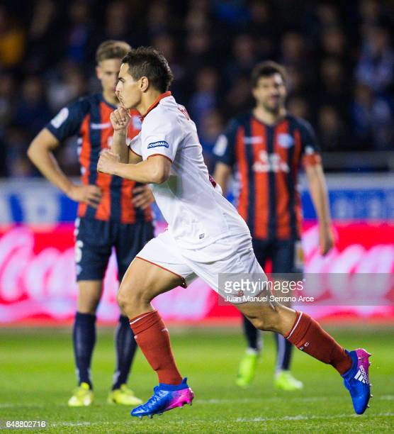 Wissam Ben Yedder of Sevilla FC celebrates after scoring goal during the La Liga match between Deportivo Alaves and Sevilla FC at Mendizorroza...