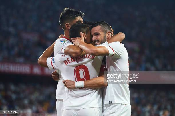Wissam Ben Yedder of Sevilla FC celebrates after scoring the first goal for Sevilla FC with Pablo Sarabia of Sevilla FC during the La Liga match...