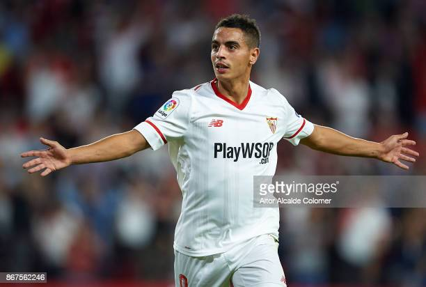 Wissam Ben Yedder of Sevilla FC celebrates after scoring the first goal for Sevilla FC during the La Liga match between Sevilla and Leganes at...