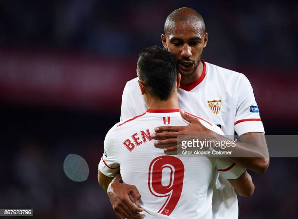 Wissam Ben Yedder of Sevilla FC celebrates after scoring the first goal for Sevilla FC with Steven N'Zonzi of Sevilla FC during the La Liga match...
