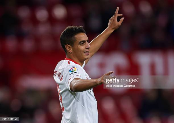Wissam Ben Yedder of Sevilla FC celebrates after scoring the first goal for Sevilla FC during la Copa del Rey match between Sevilla FC and FC...