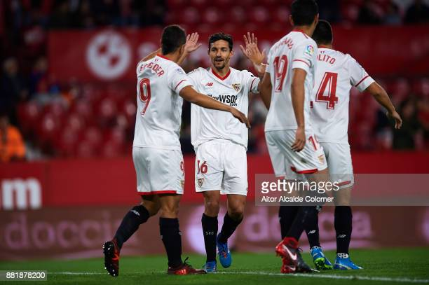 Wissam Ben Yedder of Sevilla FC celebrates after scoring the first goal for Sevilla FC with Jesus Navas of Sevilla FC during la Copa del Rey match...