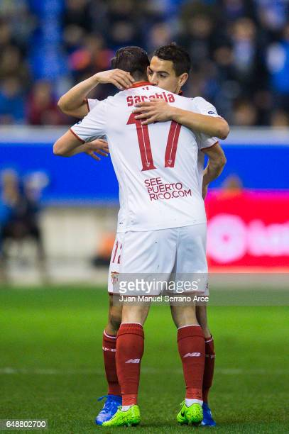 Wissam Ben Yedder of Sevilla FC celebrates with his teammate Pablo Sarabia of Sevilla FC after scoring the opening goal during the La Liga match...
