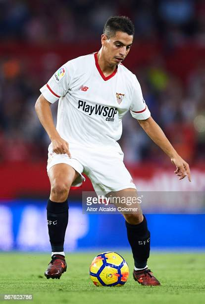 Wissam Ben Yedder of Sevilla FC in action during the La Liga match between Sevilla and Leganes at Estadio Sanchez Pizjuan on October 28 2017 in...