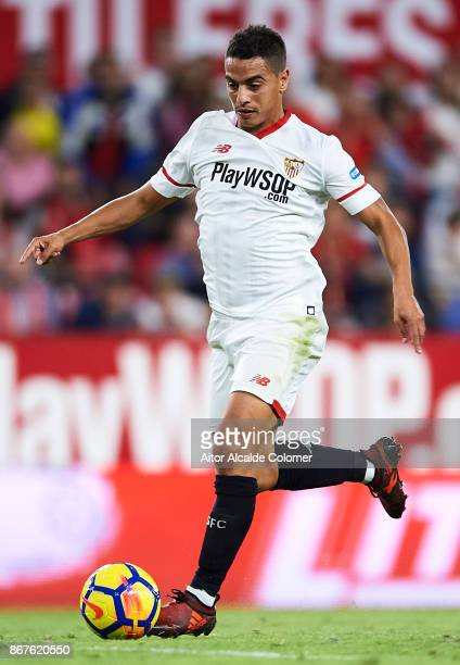 Wissam Ben Yedder of Sevilla FC in actionn during the La Liga match between Sevilla and Leganes at Estadio Sanchez Pizjuan on October 28 2017 in...