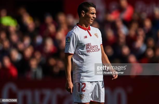 Wissam Ben Yedder of Sevilla FC looks on during the La Liga match between Sevilla FC and Villarreal CF at Estadio Ramon Sanchez Pizjuan on February...