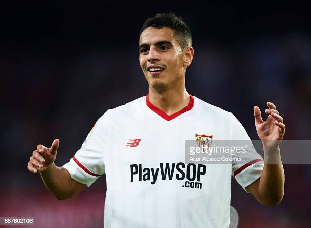 Wissam Ben Yedder of Sevilla FC looks on during the La Liga match between Sevilla and Leganes at Estadio Sanchez Pizjuan on October 28 2017 in...