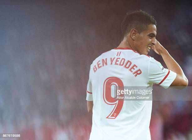 Wissam Ben Yedder of Sevilla FC looks on during the La Liga match between Sevilla and Leganes at Estadio Sanchez Pizjuan on October 28 2017 in Seville