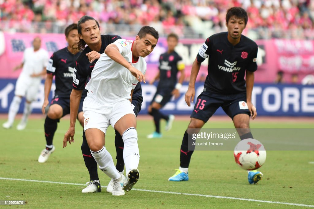Wissam Ben Yedder of Sevilla FC passes the ball during the preseason friendly match between Cerezo Osaka and Sevilla FC at Yanmar Stadium Nagai on July 17, 2017 in Osaka, Japan.