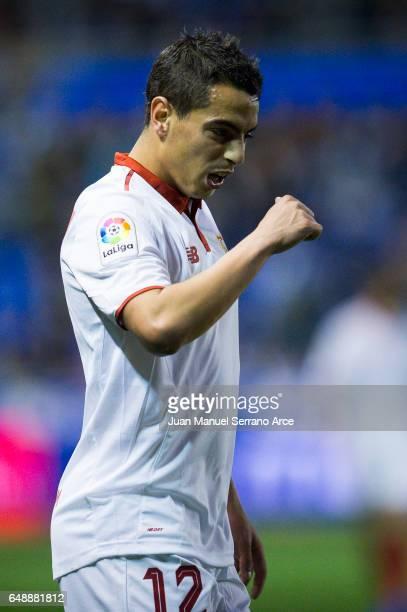 Wissam Ben Yedder of Sevilla FC reacts during the La Liga match between Deportivo Alaves and Sevilla FC at Mendizorroza stadium on March 6 2017 in...