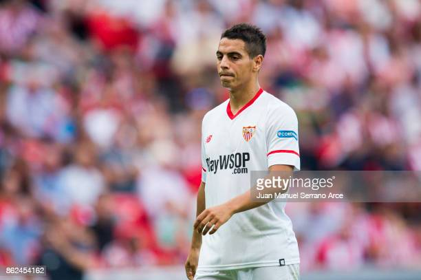 Wissam Ben Yedder of Sevilla FC reacts during the La Liga match between Athletic Club Bilbao and Sevilla FC at San Mames Stadium on October 14 2017...