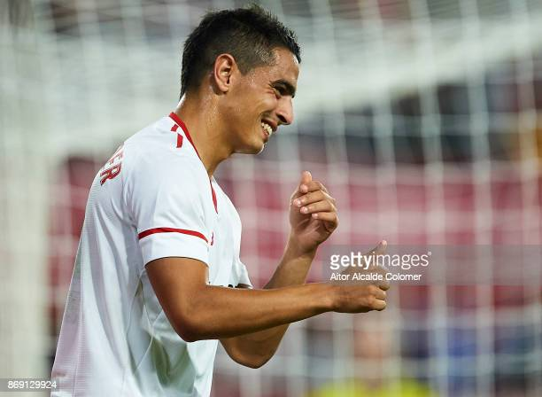 Wissam Ben Yedder of Sevilla FC reacts during the UEFA Champions League group E match between Sevilla FC and Spartak Moskva at Estadio Ramon Sanchez...