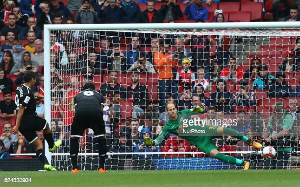 Wissam Ben Yedder of Sevilla FC score from the penalty spot during Emirates Cup match between RB Leipzig against Sevilla at Emirates Stadium on 29...