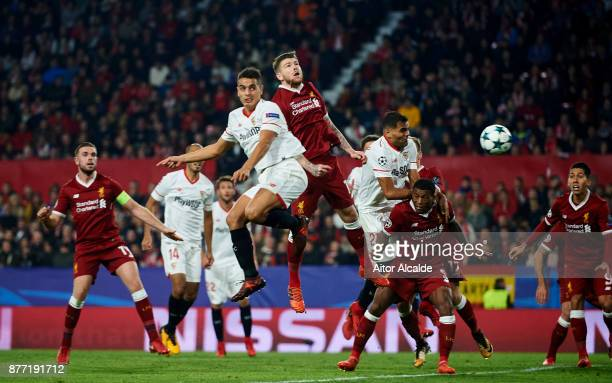 Wissam Ben Yedder of Sevilla FC scoring goal during the UEFA Champions League group E match between Sevilla FC and Liverpool FC at Estadio Ramon...