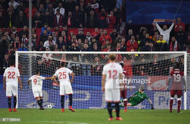 Wissam Ben Yedder of Sevilla scores his sides second goal during the UEFA Champions League group E match between Sevilla FC and Liverpool FC at...