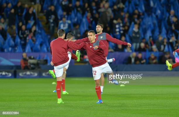 Wissam Ben Yedder of Sevilla warms up at Leicester City Stadium ahead of the UEFA Champions League Round of 16 match between Leicester City and...