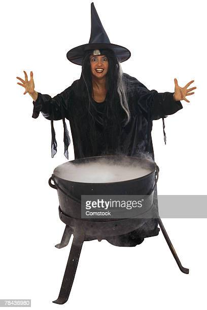 Witch and kettle of brew