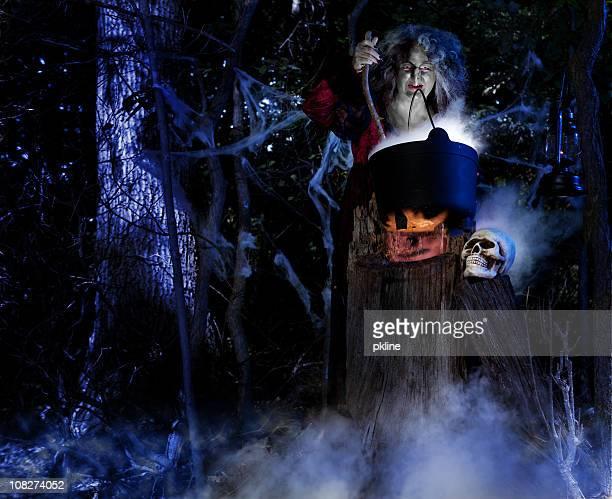 Sorcière proposer une Potion magique dans les bois