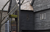 The Judge Jonathan Corwin House also known as The Witch House: Black old historical house in Salem, MA,  is the only structure still standing in Salem with direct ties to the Witchcraft Trials of 1692