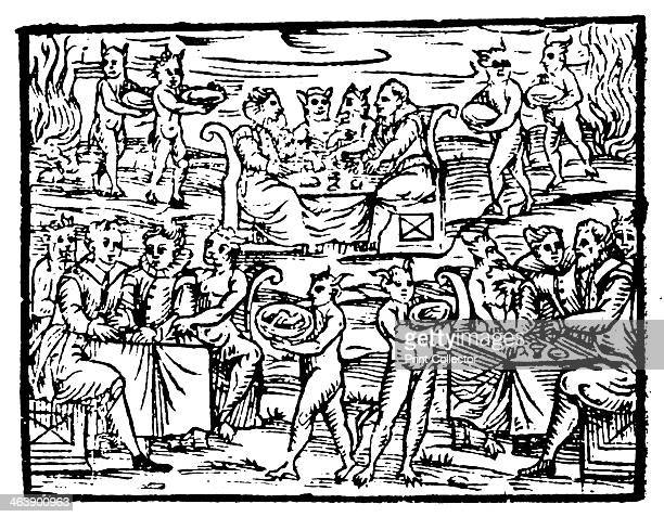 Witches and sorcerers feasting at the Sabbath 1608 From Compendium Maleficarum by Francesco Maria Guazzo [Milan 1608]