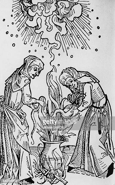 witches are brewing a potion from witches tract Tractatus de lamiis et phitonicis mulieribus wood engraving around 1500