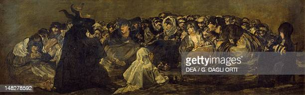 Witches' sabbath or The Great HeGoat 18211823 by Francisco de Goya mural transferred to canvas from the Villa del Sordo 140x438 cm Madrid Museo Del...