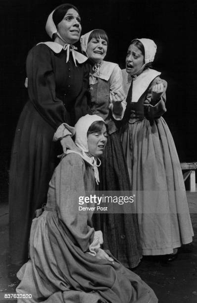 WitchHunt Drama At Bonfils Joanna Rolek Glenna Kelly and Laurie Greenfield from left and Gayle Barrett foreground appear in the Bonfils Theatre's...