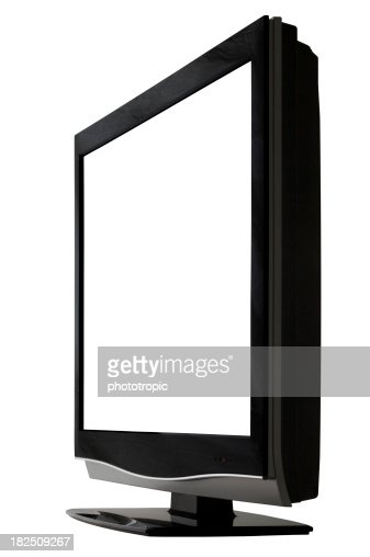 HD TV with a blank screen angled to the left