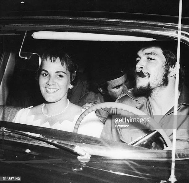 With a cigar clamped in his mouth Cuban rebel Army Maj Ernesto 'Che' Guevara drives from here June 3rd to begin his honeymoon with his bride the...