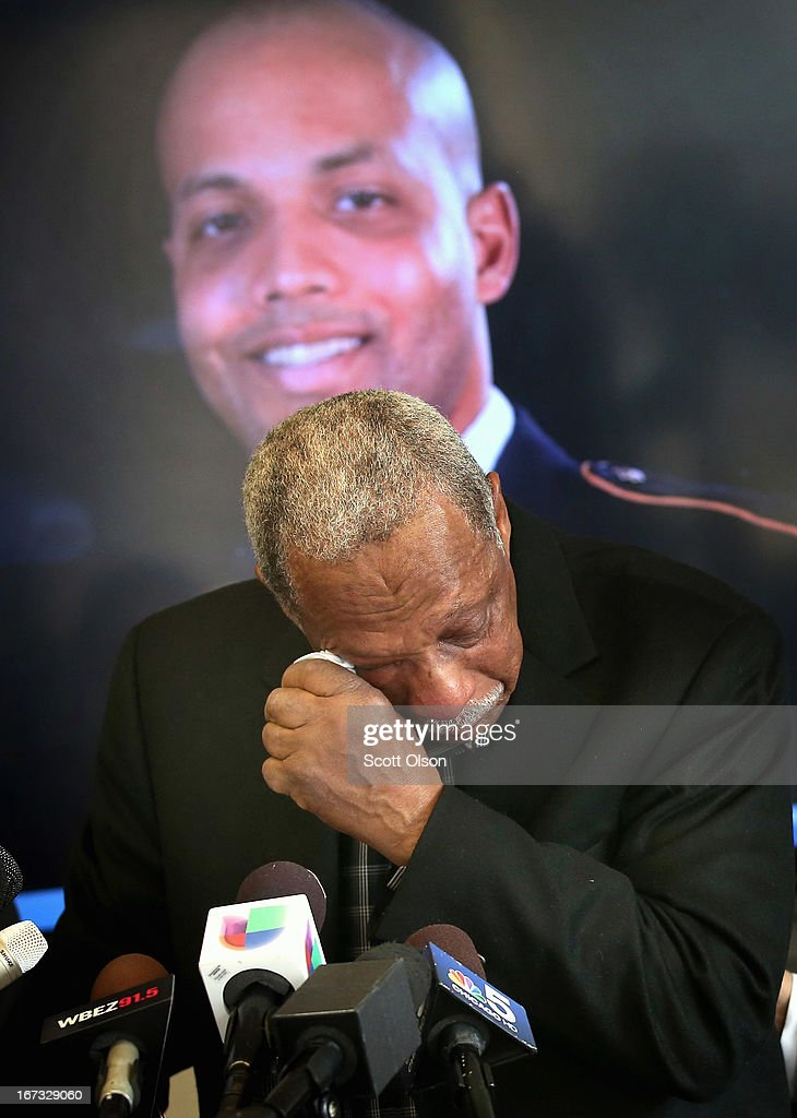 With a picture of his son behind him, retired Chicago police officer Thomas Wortham III fights back tears while speaking at a press conference where it was announced that a lawsuit has been filed by the Brady Center to Prevent Gun Violence on behalf of the Wortham family against Ed's Pawn Shop and Salvage Yard in Byhalia, Mississippi on April 24, 2013 in Chicago, Illinois. The suit claims that Wortham's son, Chicago Police officer and Iraq War veteran Thomas Wortham IV, was killed by a gun wrongfully sold to a straw purchaser at the pawn shop. Wortham IV was killed outside his parents' home on May 19, 2010 when 4 reported gang members tried to rob him of his motorcycle.