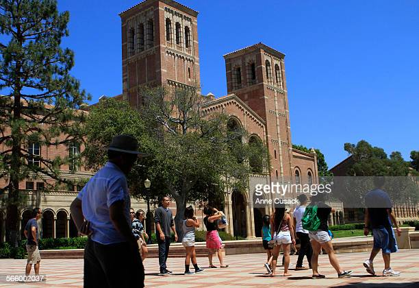 With a view of Royce Hall visitors enjoy the campus of UCLA in Westwood on August 21 2011 For the first time the total amount that the University of...
