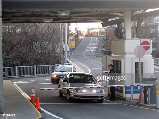 CanadaUSborderpolicesociety == The Canadian customs in 'downtown' Stanstead Canada on the border with the US Stanstead and Derby Line Vermont on the...