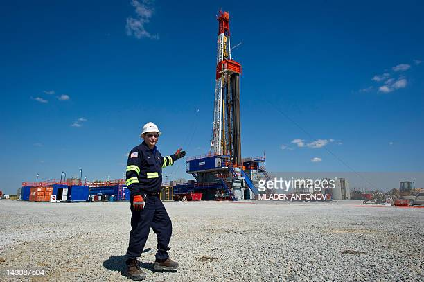 USEnergyGasEnvironment Jeff Boggs responsible for the drilling at Consol Energy poses infront of one of the company's Horizontal Gas Drilling Rigs...