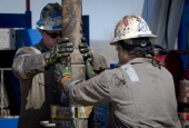 USEnergyGasEnvironment Workers change pipes at Consol Energy Horizontal Gas Drilling Rig exploring the Marcellus Shale outside the town of Waynesburg...