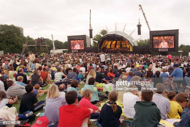 With an image of Charlotte Church projected on the large screen children and families enjoy CBBC Proms In The Park in London's Hyde Park The BBC hope...