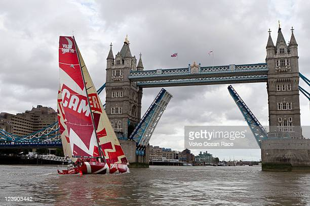 CAMPER with Emirates Team New Zealand sails up the River Thames and through Tower Bridge on September 5 2011 in London England The Volvo Ocean Race...