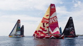 CAMPER with Emirates Team New Zealand skippered by Chris Nicholson from Australia sails alongside the fleet of Volvo Open 70's during the start of...