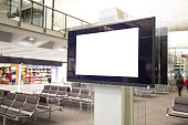 LCD TV with empty copy space at airport shot in hong kong, asia, china