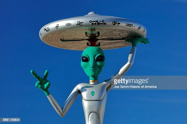 ET with flying saucer on his head off Interstate 15 Baker CA Extra Terrestrial highway California