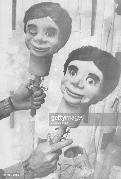 With grins and a wink two ventriloquists dummies face the children visiting the Clinton Detweiller Marionette factory in Littleton Credit Denver Post