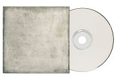 Dvd,cd with a grungy, white sleeve on a white background and copy space.
